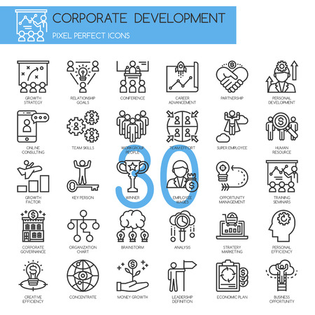 relationship management: corporate development , thin line icons set