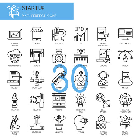 Startup business and launch , thin line icons set