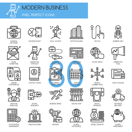 office tool: Modern business , thin line icons set