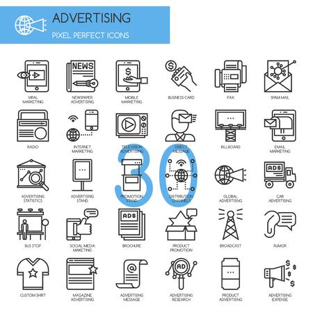 media distribution: ADVERTISING , thin line icons set Illustration