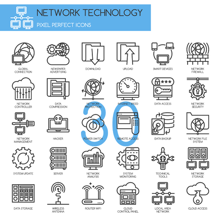 Network Technology , thin line icons set ,pixel perfect icons