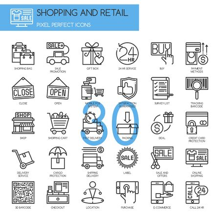 24 hr: Shopping and Retail , thin line icons set