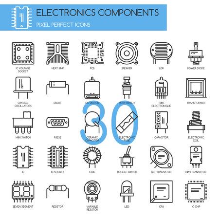 電子部品、細い線のアイコンを設定、ピクセル完璧なアイコン  イラスト・ベクター素材