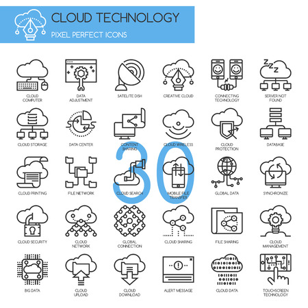 Cloud Technology , Pixel perfect icons , Thin line icons set