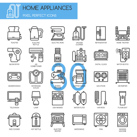 secador de pelo: Electrodom�sticos, iconos de l�neas finas establecidos, iconos perfectos de p�xeles