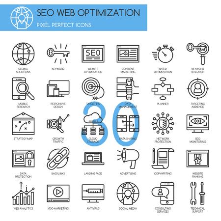 Optimización de motores de búsqueda, iconos de líneas finas ajustado