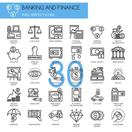 banco dinero: Banca y Finanzas, iconos de líneas finas establecen Vectores