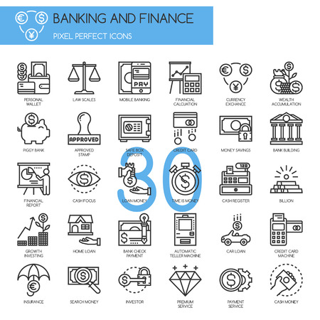 automatic teller machine bank: Banking and Finance , thin line icons set