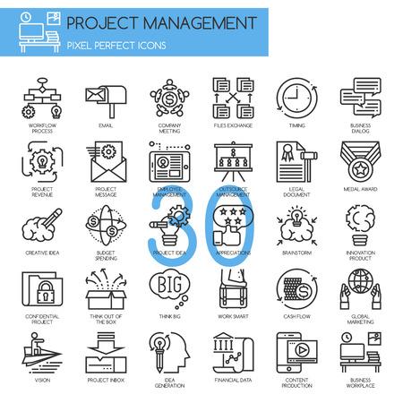 Project management, dunne lijn geplaatste pictogrammen