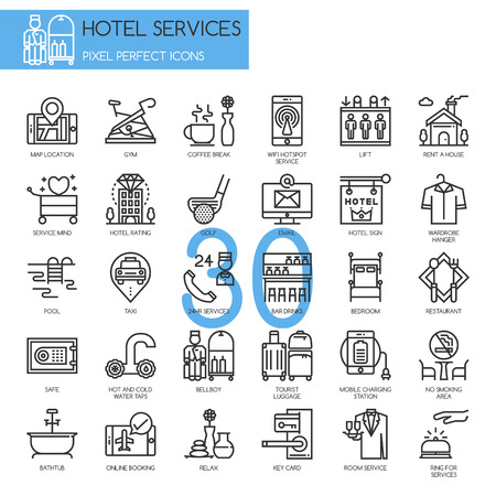 24 hr: Hotel Service , thin line icons set , Pixel perfect icon