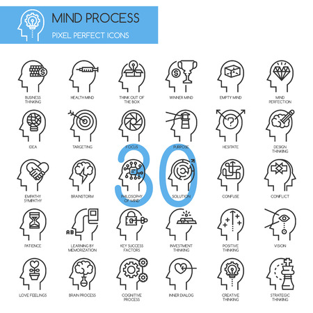 pixel perfect: Mind Process , thin line icons set , Pixel Perfect Icons
