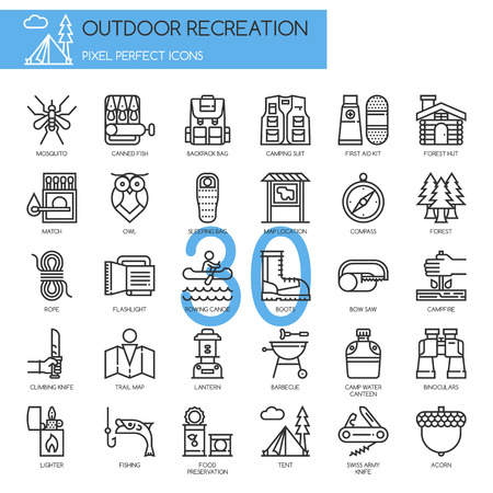 pixel perfect: Outdoor Recreation , thin line icons set , Pixel Perfect Icons Illustration