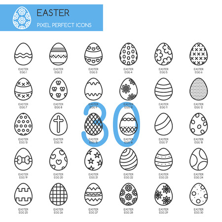 pixel perfect: Easter , thin line icons set , Pixel Perfect Icons