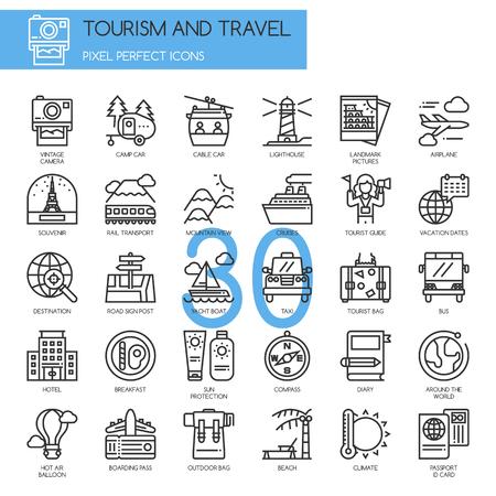 Turismo y viajes, iconos de líneas delgadas set, Pixel Perfect Iconos
