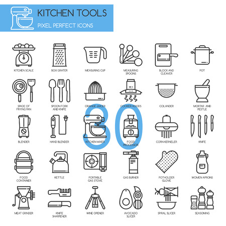 Kitchen Tools , thin line icons set ,pixel perfect icons Illustration