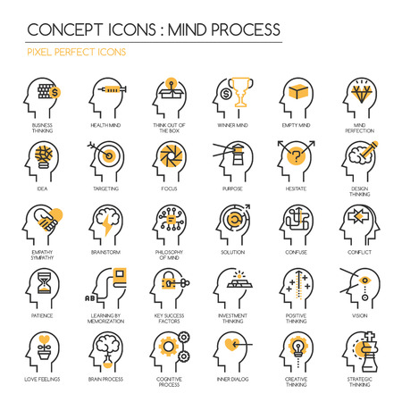 hesitate: Mind Process , thin line icons set , Pixel Perfect Icons