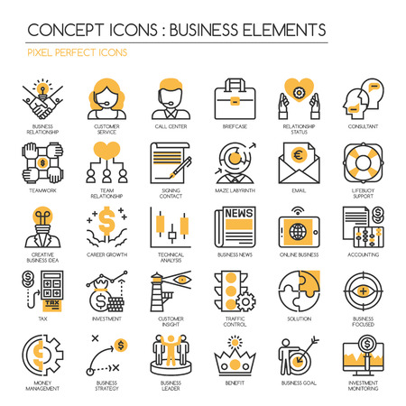 tax consultants: Business Elements, thin line icons set ,Pixel Perfect Icons