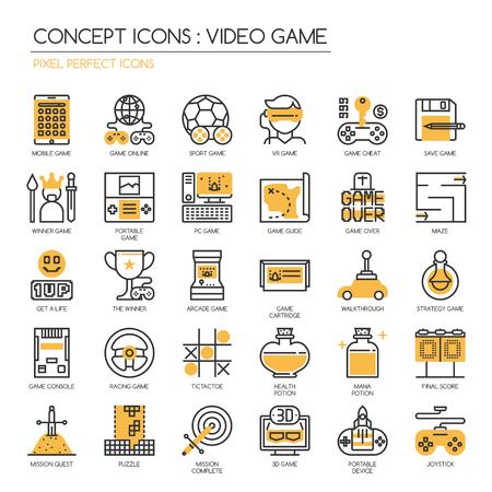 mana: Video Game , thin line icons set ,pixel perfect icons Illustration
