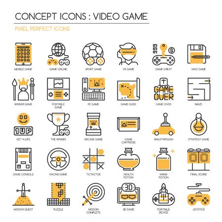 Video-Spiel, dünne Linie Icons Set, pixelgenaue Symbole