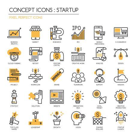 pixel perfect: Startup business and launch , thin line icons set ,Pixel Perfect Icons