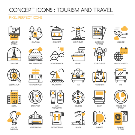mountain pass: TOURISM AND TRAVEL , thin line icons set , Pixel Perfect Icons Illustration