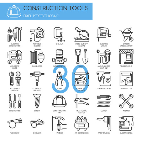 construction icon: Construction Tools  , thin line icons set , Pixel Perfect Icons