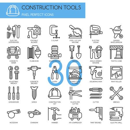 Herramientas para la construcción, iconos de líneas finas establecidos, Pixel Perfect Iconos