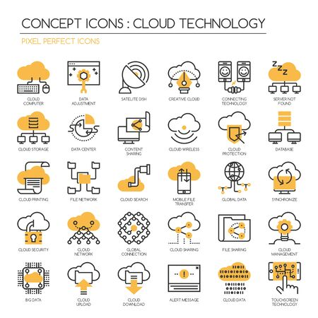 pixel perfect: Cloud Technology , Pixel perfect icons , Thin line icons set ,Pixel Perfect Icons