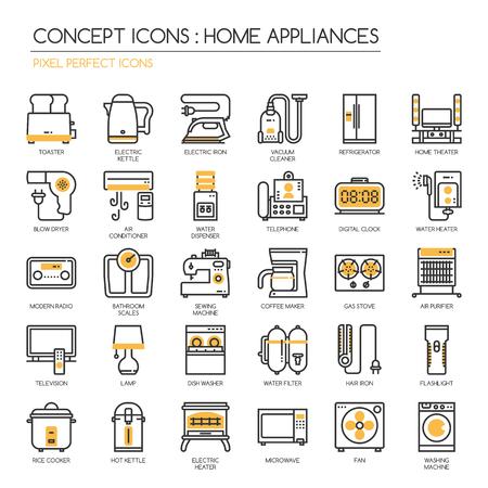 Home Appliances , thin line icons set ,pixel perfect icons ,Pixel Perfect Icons