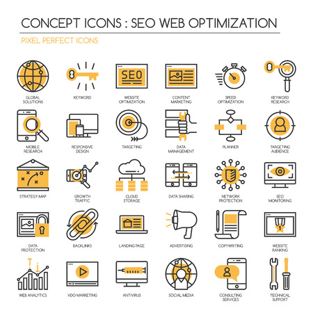 optimize: Search engine optimization , thin line icons set, Pixel Perfect Icons