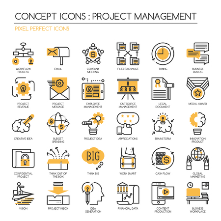 out of production: Project management , thin line icons set ,Pixel Perfect Icons