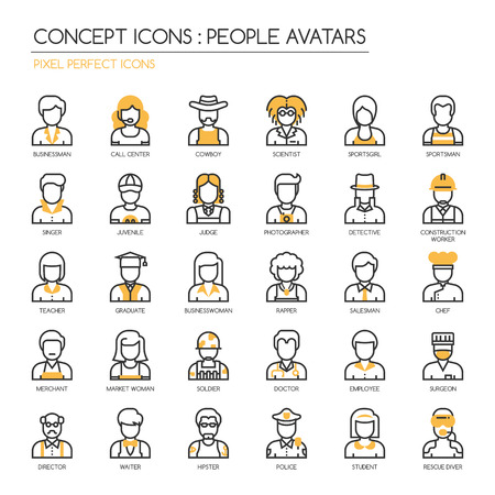 People Avatars, thin line icons set , Pixel perfect icons Stock Vector - 57266172