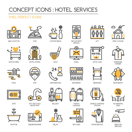 pixel perfect: Hotel Service , thin line icons set , Pixel perfect icon ,Pixel Perfect Icons Illustration