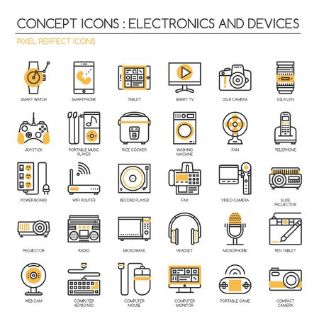 pixel perfect: Electronic and Devices , thin line icons set ,pixel perfect icons ,Pixel Perfect Icons