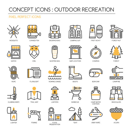 food preservation: Outdoor Recreation , thin line icons set , Pixel Perfect Icons Illustration