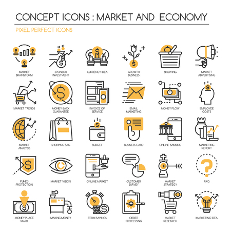 pixel perfect: Market and Economy, thin line icons set, Pixel Perfect Icons Illustration