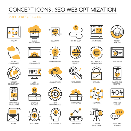 pixel perfect: Search engine optimization , thin line icons set ,Pixel Perfect Icons
