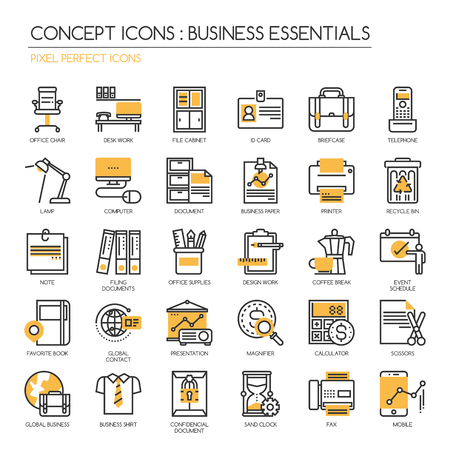 filing documents: Business Essentials, thin line icons set ,Pixel Perfect Icons Illustration