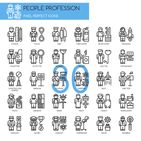 profession: People Profession , thin line icons set , Pixel Perfect Icons Illustration