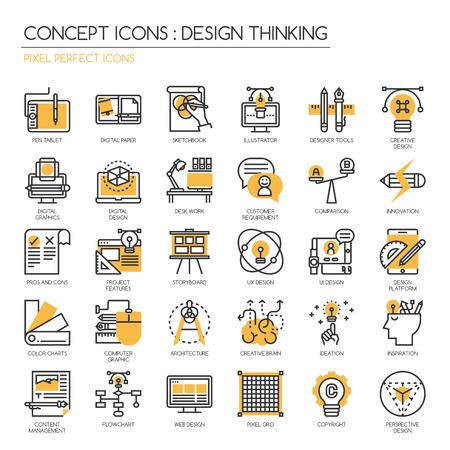 El pensamiento de diseño, iconos de líneas finas establecidos, iconos Perfect Pixel, Pixel Perfect Iconos