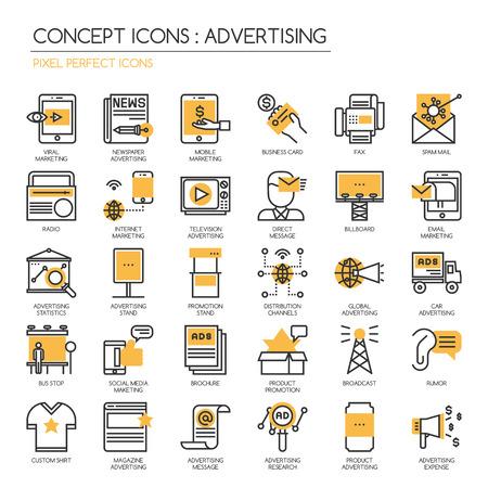PUBLICITE, icônes de lignes fines définies, Pixel Icons Parfait Vecteurs