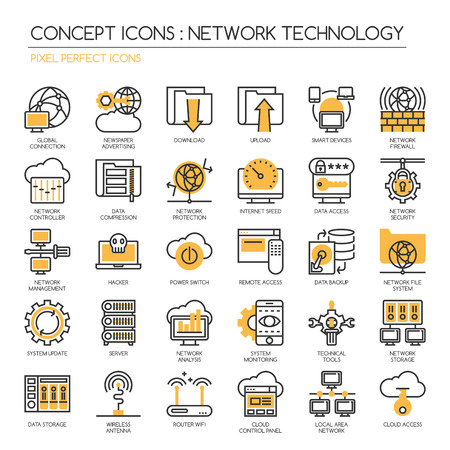 pixel perfect: Network Technology , thin line icons set ,pixel perfect icons