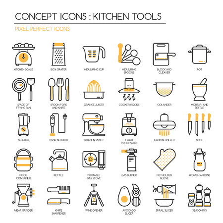 measuring spoon: Kitchen Tools , thin line icons set ,pixel perfect icons Illustration