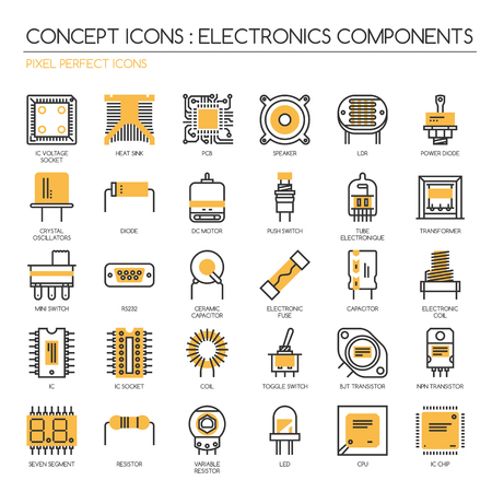 electronic components: Electronic components , thin line icons set ,pixel perfect icons ,Pixel Perfect Icons Illustration