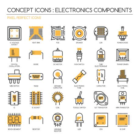 Les composants électroniques, des icônes de ligne mince set, pixel icônes parfaites, Pixel Icons Parfait