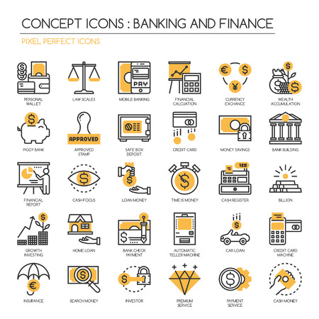 Banking and Finance , thin line icons set ,Pixel Perfect Icons Vettoriali