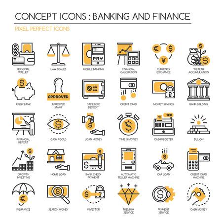 Bankowość i finanse, cienkie linie ikony ustaw, Pixel Idealne Ikony