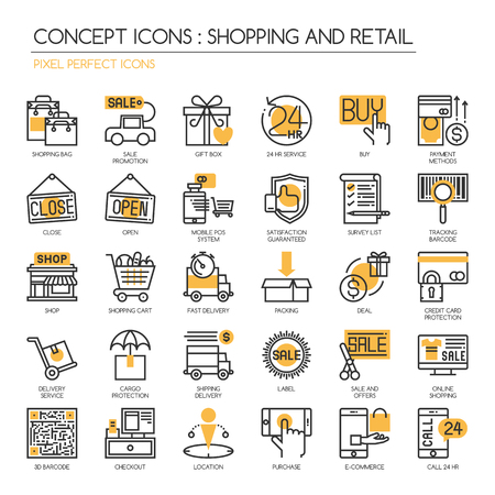 pixel perfect: Shopping and Retail , thin line icons set ,Pixel Perfect Icons