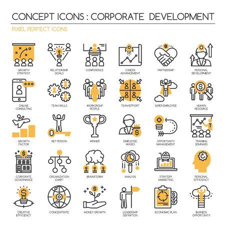 corporate development, dunne lijn pictogrammen set, Pixel Perfect Pictogrammen