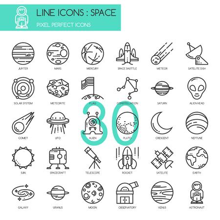 Spazio, sottili icone delle linee stabilite, pixel icona perfetta